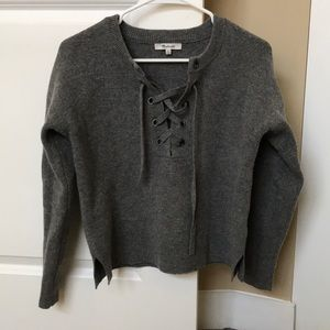 Madewell Front Cross Lace Sweater